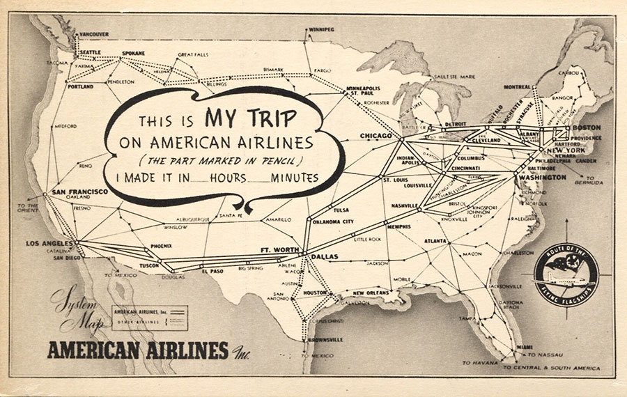 09-Sz-American-Airlines-Route-Map-Postcard,-A-I,-A-245-C,-Marvin-G-Goldman-Coll'n