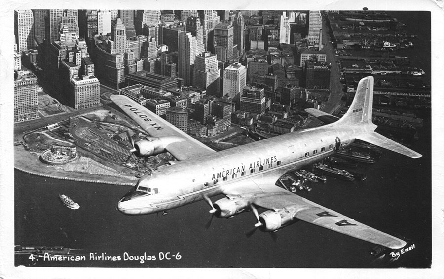 11-Sz-American-Airlines-DC-6-Over-Manhattan,-Enell-no.-4,-PM-16-Sep-1957,-MGGoldman-Coll'n