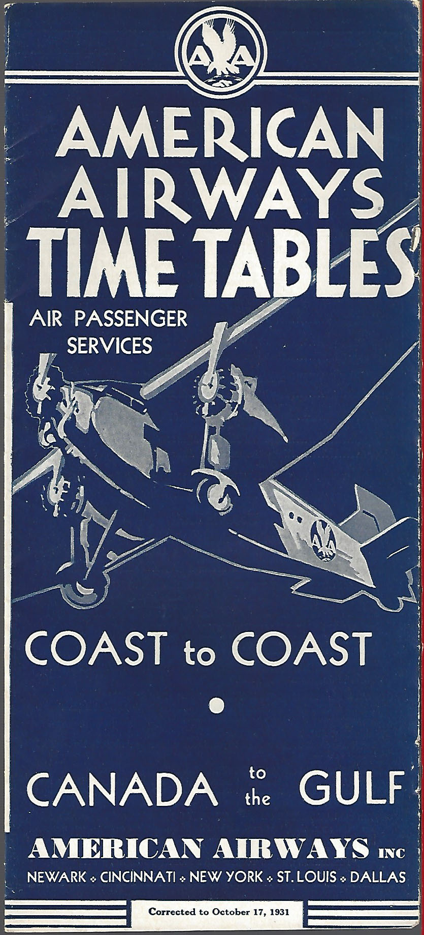American Airlines Timetables World Airline Historical Society